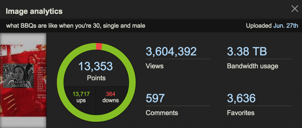 what BBQs are like when you're 30, single and male reddit imgur traffic statistics