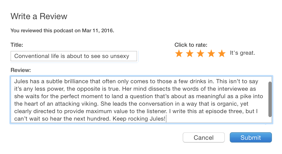 unconventional life itunes podcast review