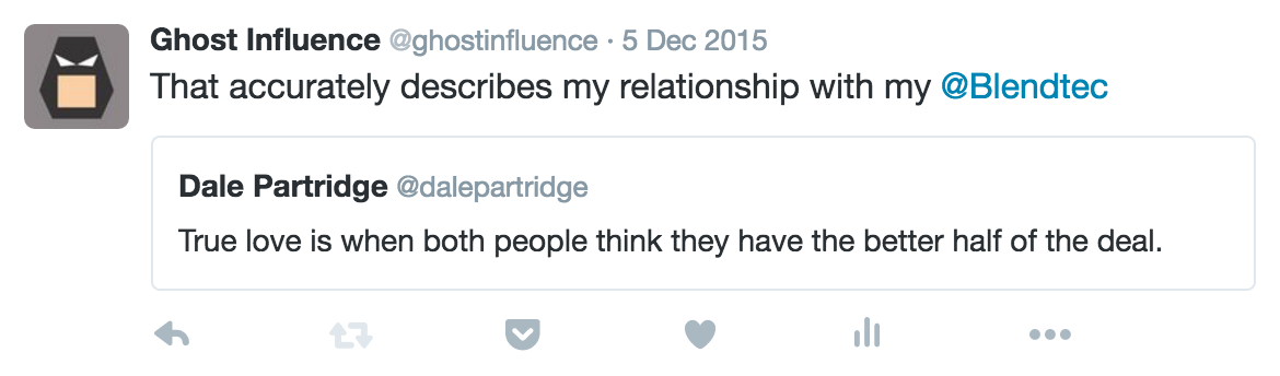 dale partridge true love quote on twitter depicts relationship with blendtec