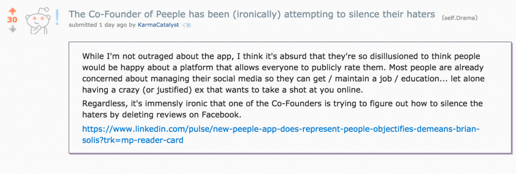 Reddit Drama Post About Peeple App Article